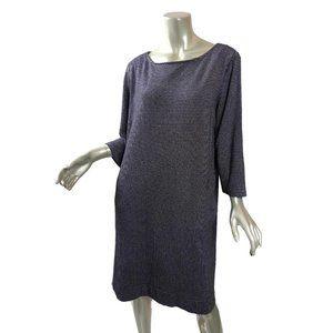 J. Jill Ponte Knit Dress Black White Pocket TALL